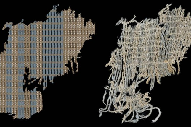 Ancient fabric recovered from Peru features intricately woven indigo-dyed yarn, the earliest evidence of the dye. At 6,200 years old, the fabric is at least 1,500 years older than the oldest pieces of Egyptian dyed fabric. Photo by Jeffrey Splitstoser, et al./Science Advances