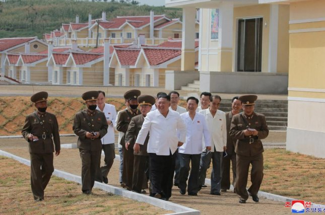 North Korean leader Kim Jong Un praised the military for its reconstruction of a village damaged by recent typhoons, state media reported on Tuesday. Photo by KCNA