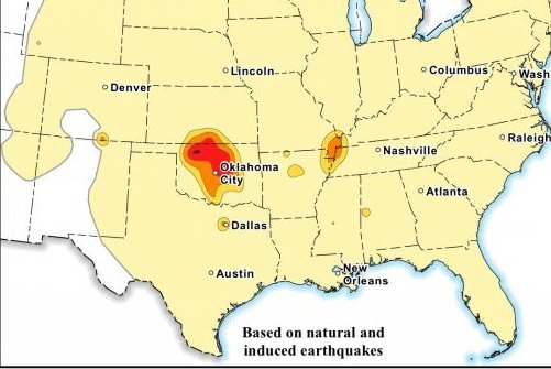 Oklahoma governor defends state response to seismic activity tied loosely to the oil and gas industry after federal report describes state as a hot-spot. Map courtesy of the U.S. Geological Survey.