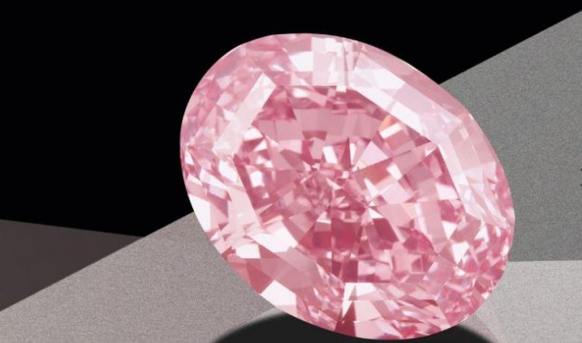 The Pink Star, a 59.6 carat pink diamond, was auctioned for a record $71.2 million on Tuesday in Hong Kong. Photo courtesy of Sotheby's