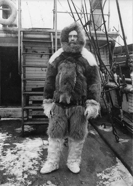 Robert Edwin Peary stands on the main deck of the steamship Roosevelt wearing fur clothing in 1909. Photo courtesy of Library of Congress