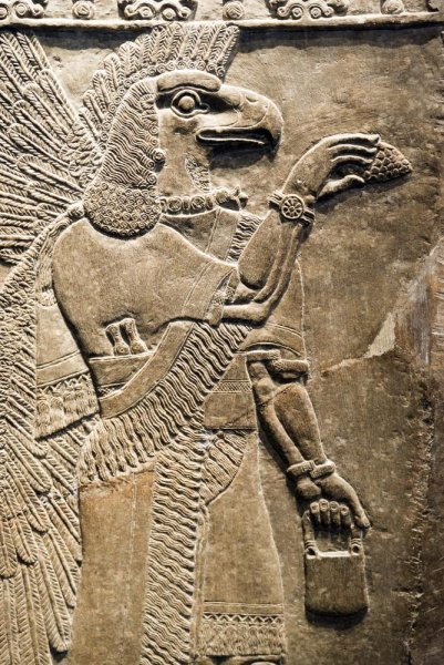 A British museum houses this relief of an eagle-headed protective spiri from about 865-860 BC, the Temple of Ninurta, Nimrud. Photo by villorejo/Shutterstock