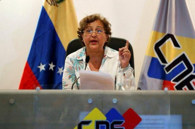 Tibisay Lucena, president of Venezuela's National Electoral Council, or CNE, on Thursday postponed efforts to hold a recall referendum to remove President Nicolas Maduro from power over fraud allegations -- a ruling sharply condemned by the Democratic Unity Roundtable opposition. Photo courtesy of CNE