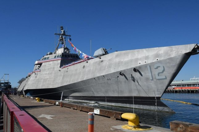 The littoral combat ship USS Omaha (LCS 12) is moored during its commissioning ceremony at Broadway Pier in San Diego, California. Photo by Mass Communication Specialist 1st Class Marie A. Montez/U.S. Navy