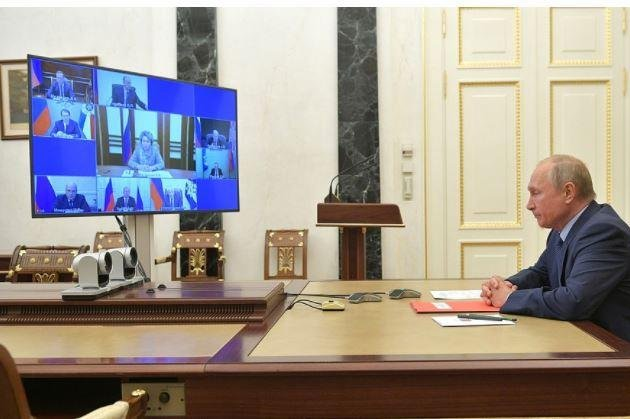 Russian President Vladimir Putin suggested a one-year extension of the START nuclear arms treaty with the United States on Friday, during a videoconference with Russia's Security Council. Photo courtesy of the Office of the Russian President