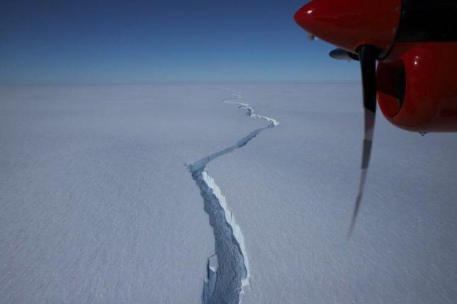 Image of the North Rift crack on the Brunt Ice Shelf in Antarctica in January leading to an iceberg as large as Los Angeles on Friday. Photo by Andy Van Kints/British Antarctic Society