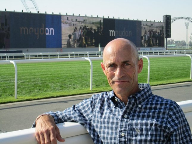 Gary Stevens at Meydan Racecourse in Dubai where he was entered in the $10 million World Cup March 30, 2013. (Photo by Richard Gross)