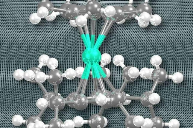 Scientists synthesized a new kind of single-molecule magnet that stores magnetic information at 80 Kelvin, a new record. Photo by Richard Layfield/University of Sussex
