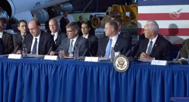 Military and intelligence officials, with Vice President Mike Pence at far right, announced a joint command of the U.S. Space Command and the National Reconnaissance Office on Tuesday. Photo courtesy of NASA