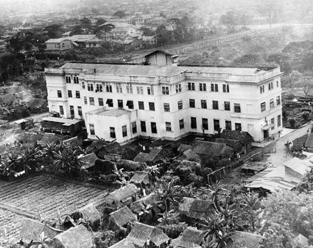 Aerial view of the Old Hospital on the campus of the University of Santo Tomas in Manila ca. 1945. Shanties built by allied prisoners of war can be seen surrounding the structure. The Santo Tomas Internment Camp was liberated from Japanese authority on Feb. 4, 1945. File Photo courtesy Wikipedia