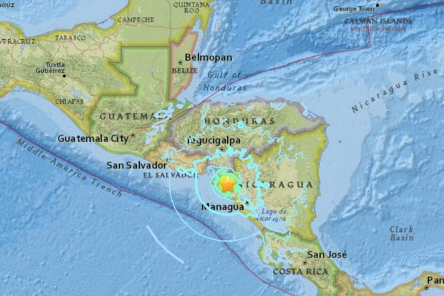 A 6.1-magnitude earthquake struck 16 miles northeast of the city of Chinandega, Nicaragua, near the border with Honduras, the U.S. Geological Survey said. Image courtesy USGS