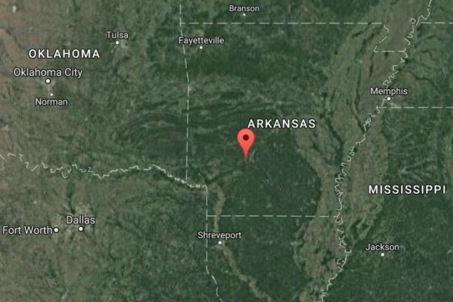 The pin on this map shows the approximate location of a plane crash in Arkansas that killed the two people aboard. Officials said the pilot of the Cessna 400 radioed in engine problems minutes before dropping off radar in Clark County, Ark. Image courtesy Google Maps