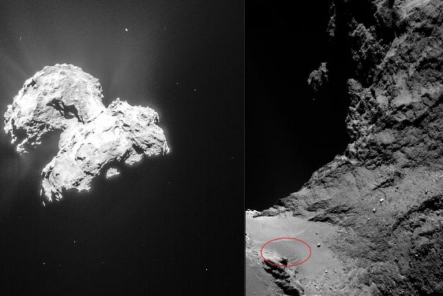 Images captured by Rosetta's camera revealed the presence of dunes on comet 67P's surface. Now new research explains how surface winds formed them. Photo by ESA/Rosetta/MPS