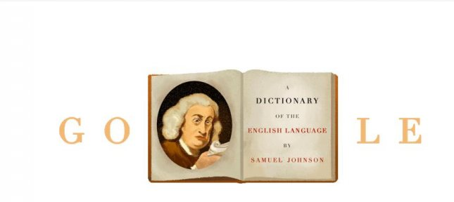 Google is paying homage to lexicographer Samuel Johnson with a new Doodle. Image courtesy of Google