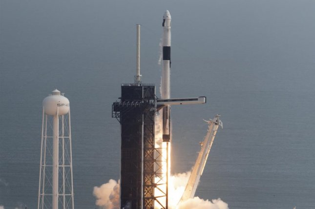 A SpaceX Falcon 9 rocket launched Sunday morning from Kennedy Space Center, Fla., in a test of the Crew Dragon capsule's escape system. Photo by Joe Marino-Bill Cantrell/UPI