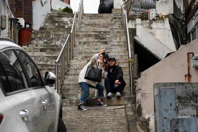 A set of stairs seen in the film Parasite has become a popular selfie location in Seoul. Photo by Thomas Maresca/UPI