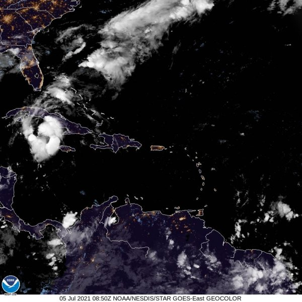 Forecasters said Tropical Storm Elsa will pass near the Florida Keys early Tuesday. Image courtesy of NOAA