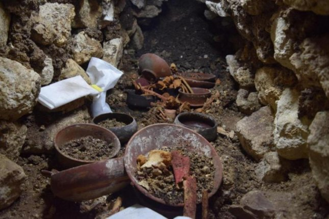 Artifacts found near the royal tomb included bones and ceramic vessels. Photo courtesy of WUSTL