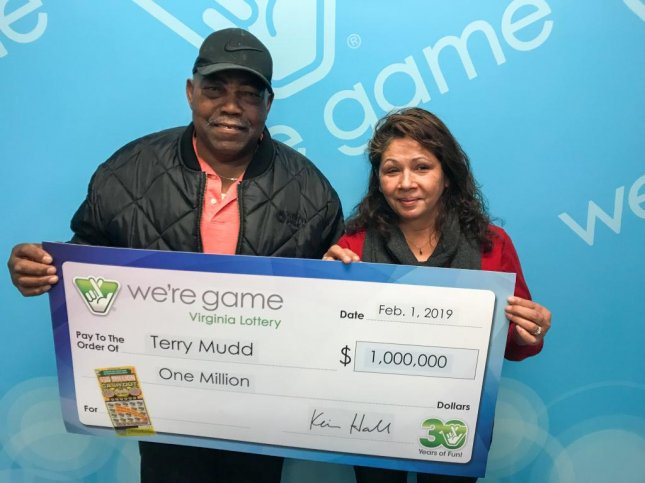 Terry Mudd surprised his wife Madonna with a $1 million winning lottery ticket for Valentine's Day. Photo courtesy Virginia Lottery