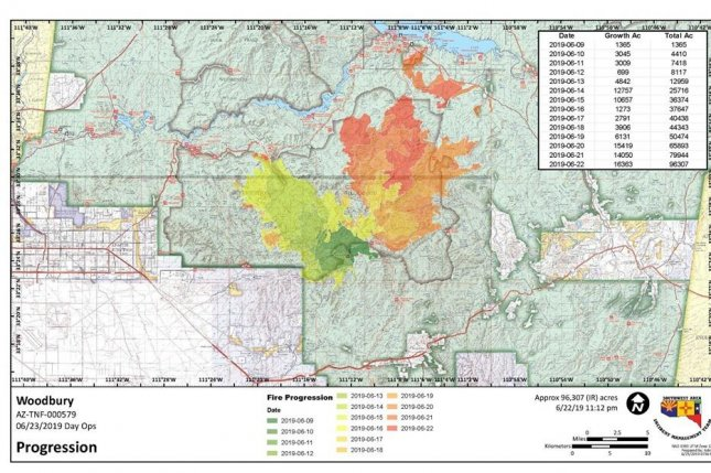 A map showing the progression of the Woodbury Fire in central Arizona from June 9 to June 22. Photo from U.S. Forest Service/Facebook