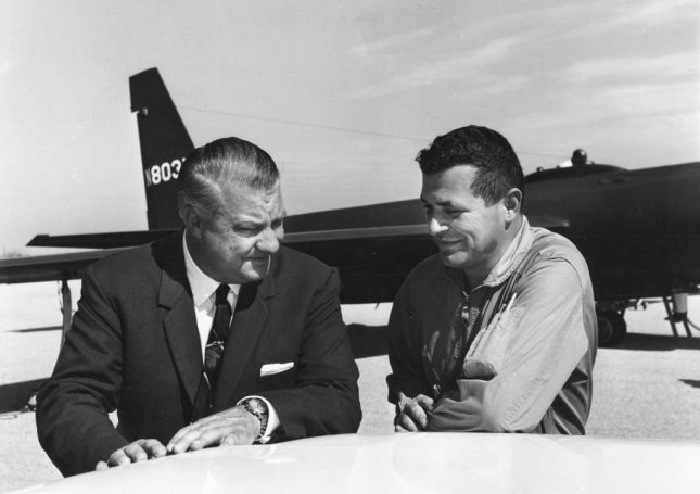Francis Gary Powers (right) with U-2 designer Kelly Johnson in 1966. Powers was recruited by the CIA in 1956 to fly civilian U-2 missions deep into Russia. On May 1, 1960, Powers' U-2 spy plane was shot down over Russia, where he was captured and held for two years. Photo courtesy U.S. Air Force