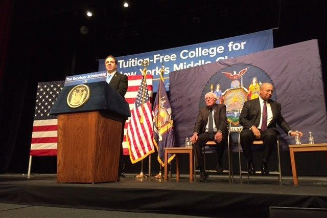 New York Gov. Andrew Cuomo, also joined by Vermont Sen. Bernie Sanders, center, on Tuesday announced a proposal to offer free tuition at state colleges to middle- and low-income New Yorkers. The plan, if approved, could benefit about 1 million families and would be fully implemented by 2019. Photo courtesy of Andrew Cuomo