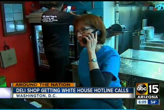 The co-owner of a Washington deli takes a wrong-number call meant for the White House. Screenshot: KNXV-TV