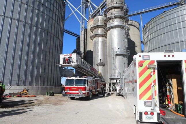 Rescue crews respond to the Whitaker grain elevator Wednesday after a worker fell around 70 feet into a nearly empty bin. The man later died. Photo courtesy of Tim Olk