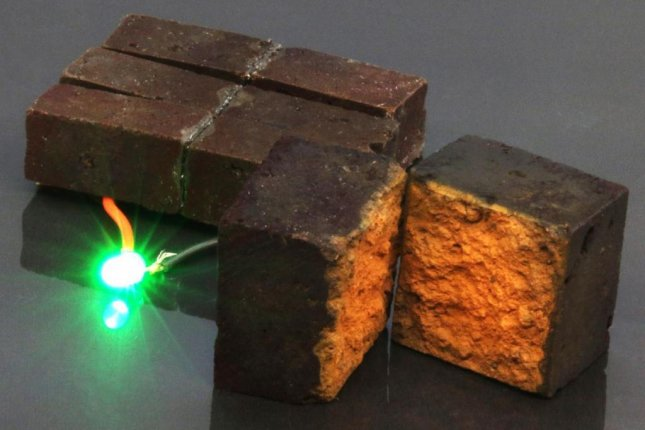 New research suggests red bricks could be converted into electricity-storing smart bricks. Photo byD'Arcy laboratory/Department of Chemistry, Washington University in St. Louis