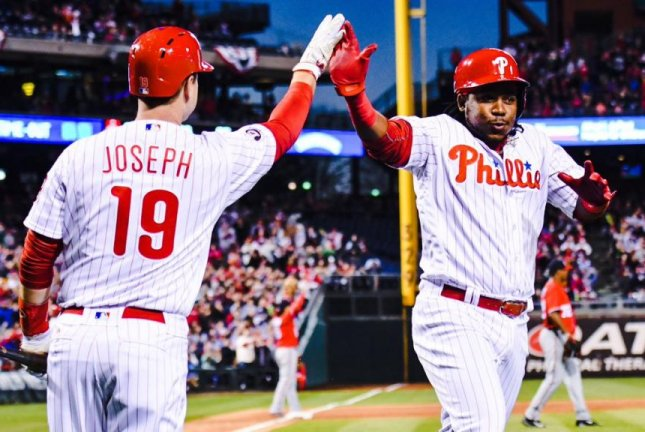 The Philadelphia Phillies scored 12 runs in the first inning on Saturday, April 8, 2017 to defeat the Washington Nationals 17-3, setting a club record in the process. Photo courtesy Philadelphia Phillies via Twitter