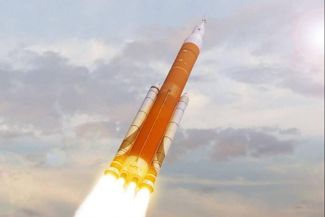 An artist's rendering from NASA shows the Space Launch System, the deep-space rocket the agency plans to fly without a flight crew in 2019. Image courtesy of NASA