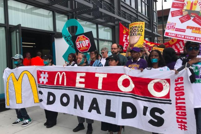 Protesters march to McDonald's cooperate office in Chicago. Photo courtesy of Fight For 15 Chicago/Twitter