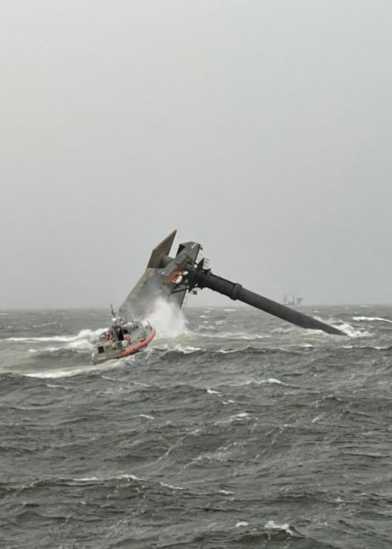 The U.S. Coast Guard said it was notified of a capsized lift vessel off the coast of Louisiana at 4:30 p.m. Tuesday. Photo courtesy of U.S. Coast Guard