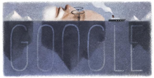 Google celebrated Sigmund Freud's 160th birthday with a Doodle on its homepage by artist Kevin Laughlin. Photo by Google