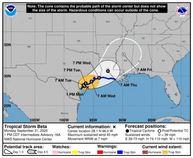Tropical Storm Beta's 5-day cone forecast is shown. Photo courtesy of NWS