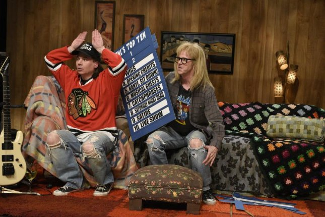Mike Myers and Dana Carvey revived their Saturday Night Live characters Wayne and Garth for the show's 40th anniversary special Feb. 15, 2015. NBC