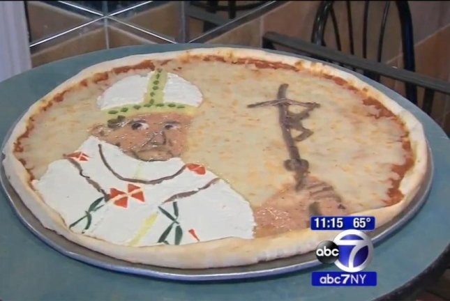 Bleeker Street Pizza in New York is offering pies with the likeness of Pope Francis created from cheese and toppings. WABC-TV video screenshot