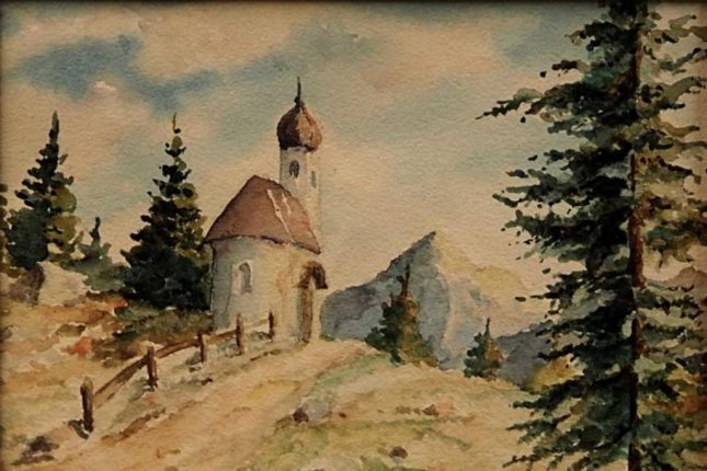 The painting Bergkapelle mit Fichten, purportedly painted by Adolf Hitler, failed to sell at auction in Nuremberg over the weekend. Image courtesy of the Weidler auction house