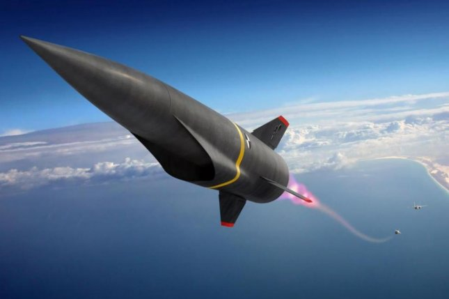This is an artist's conception of a hypersonic missile during its launch phase. Photo courtesy of Lockheed Martin