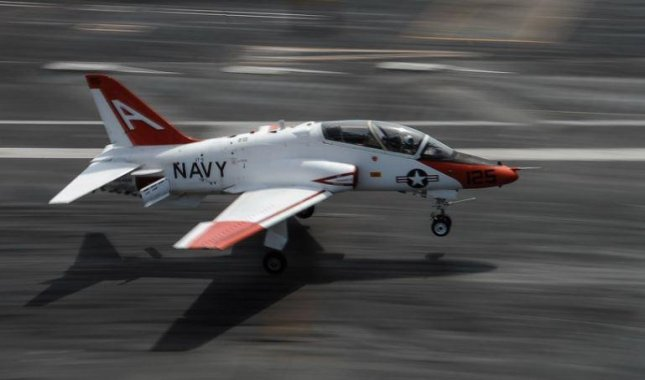 Environmental cleanup near Kingsville, Texas, has ended, the U.S. Navy said, after a T-45 Goshawk training plane, similar to the one depicted, crashed in May. Photo by MCS Anthony Hilkowski/U.S. Navy