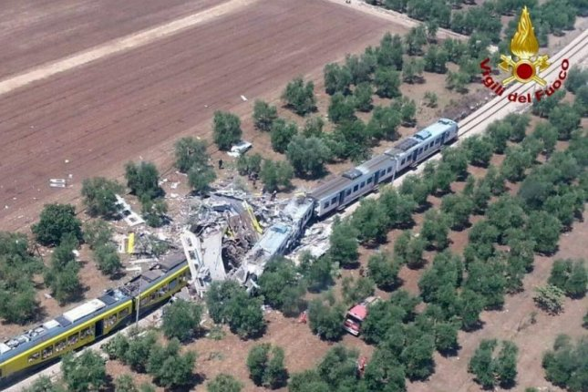 Two trains collided head-on Tuesday in Italy's Apulia region, killing more than two dozen people, officials said. Italian authorities are focusing on an outdated alert system that relies on telephone calls and human error as the cause of the crash. Photo courtesy of Regional Directorate Fire Brigade Puglia