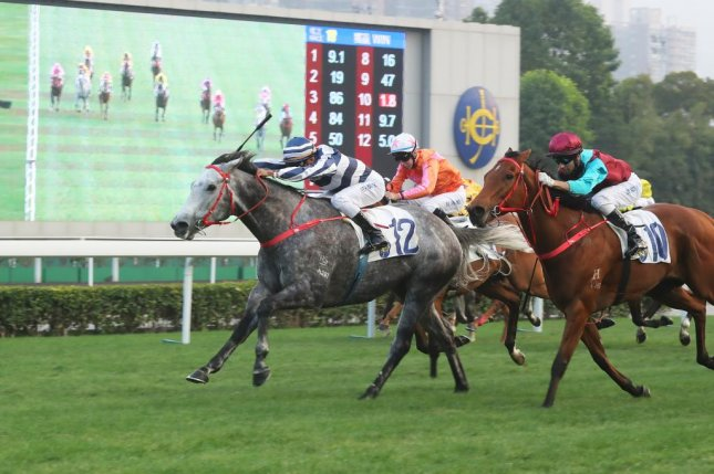 Fifty Fifty speeds to victory in Monday's (01 January) Chinese Club Challenge Cup in Hong Kong, perhaps marking the beginnings of a new star. (HKJC photo)