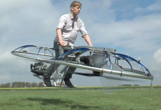 British inventor and YouTube user Colin Furze created a functioning homemade hover bike. The bike does not contain proper seating, breaks or a steering mechanism but is able to lift Furze several inches off of the ground.  Screen capture/colinfurze/YouTube