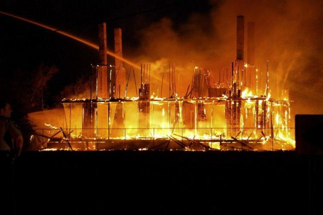 LeBeau plantation on fire in the early hours of November 22. (Twitter/@Fox8Nola)