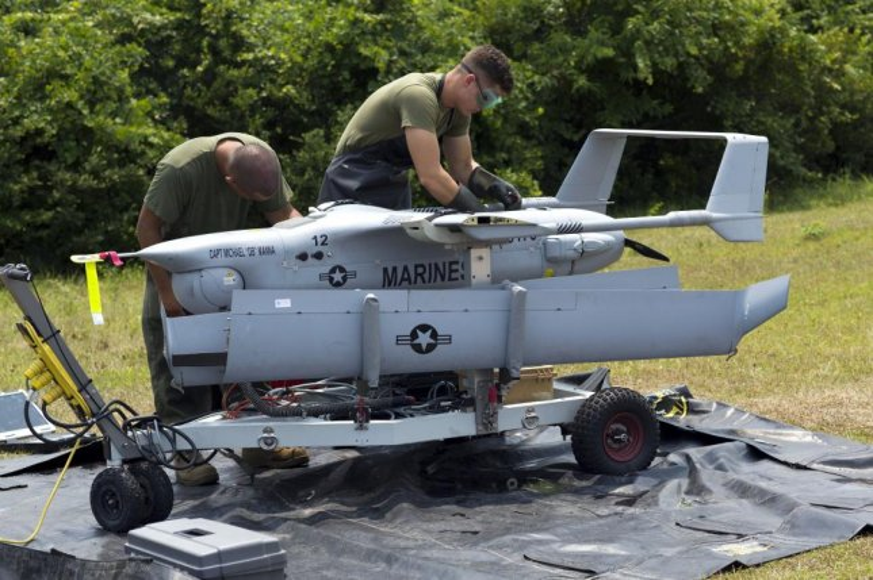 U.S. Marines prepare an Integrator drone for launch. U.S. Marines Corps photo