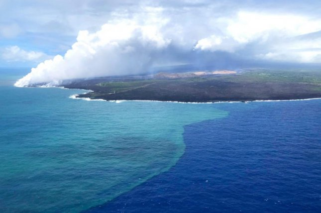 Last summer, lava from a Hawaiian volcano triggered a massive algae bloom in the Pacific. Photo by the U.S. Coast Guard
