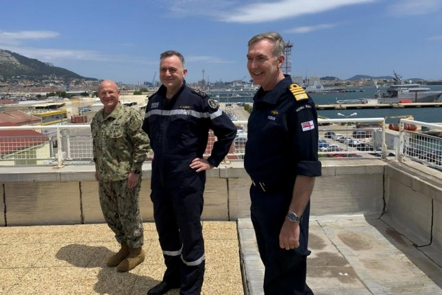 U.S. Chief of Naval Operations Adm. Mike Gilday met with British First Sea Lord and Chief of the Naval Staff Adm. Tony Radakin, and Chief of the French Navy Adm. Pierre Vandier for a trilateral maritime discussion. Photo by Nate Christensen/U.S. Navy