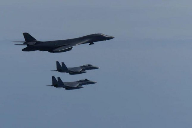 A U.S. Air Force B-1B Lancer conducted training exercises with two Japan Air Self Defense Force F-15 fighters on October 20, 2020. Photo courtesy of U.S. Air Force