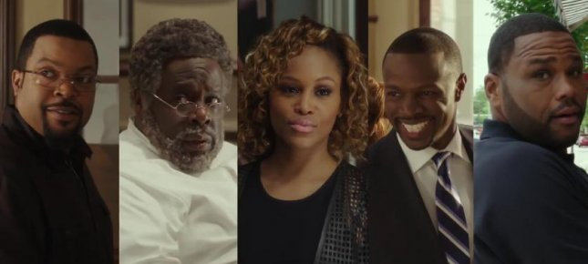 The returning cast of Barbershop 3: The Next Cut including Ice Cube, from left, Cedric the Entertainer, Eve, Sean Patrick Thomas and Anthony Anderson. Photo courtesy of Global Grind/YouTube
