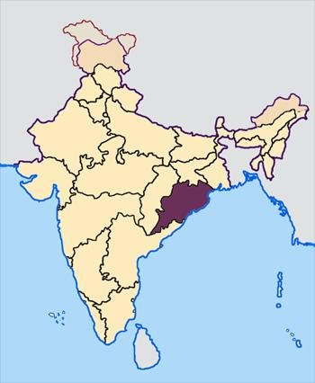 A heatwave in Odisha state, India, killed 24 people, bringing the nationwide total of deaths by sunstroke this week to 135. Map courtesy of Wikimedia